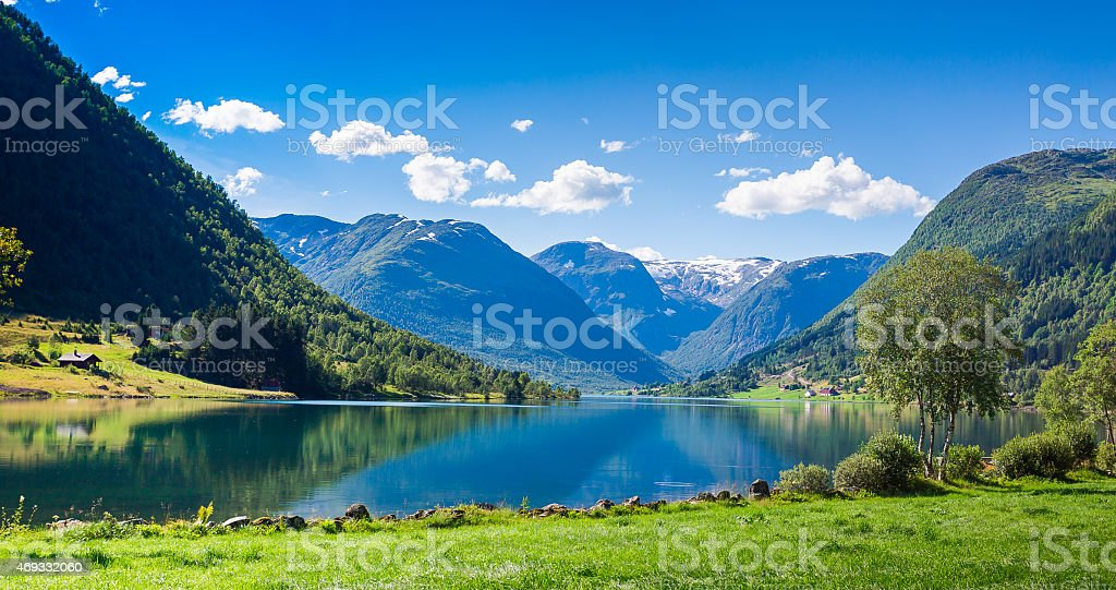 Songdal's Fjord in Norway stock photo