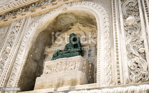 Songkhla, Thailand, Apr. 13, 2018 : Ancient buddhas in the buddha church at wat Wat Kudi, Songkhla, Thailand
