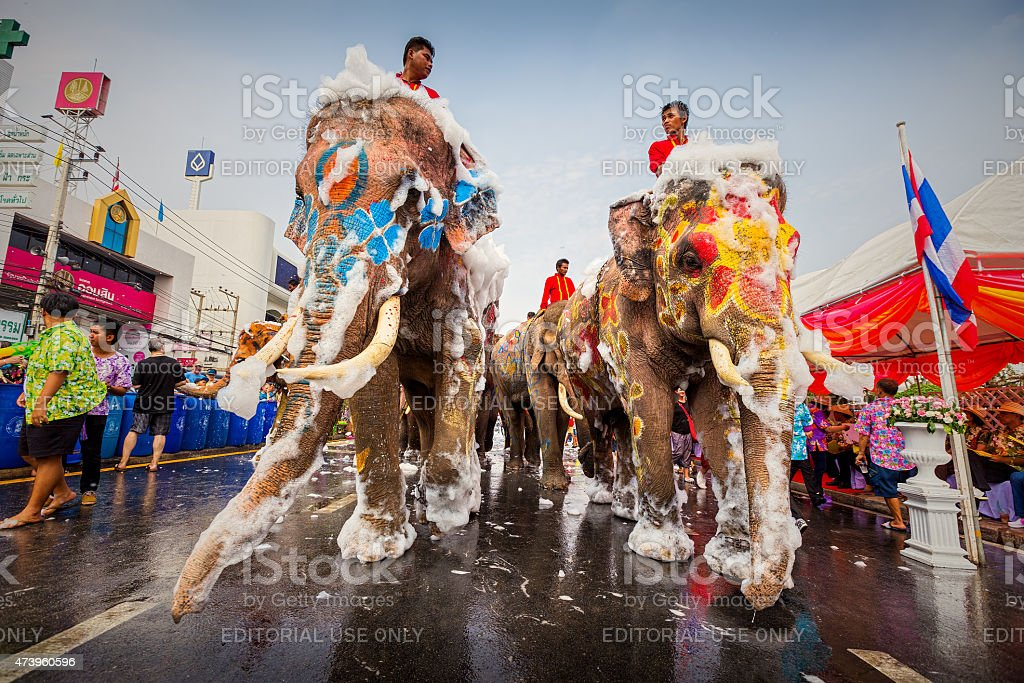Songkran Festival is celebrated in a traditional stock photo