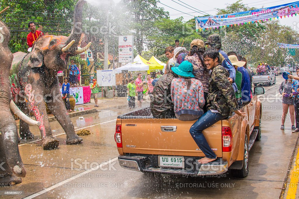 Songkran Festival or Water Festival stock photo