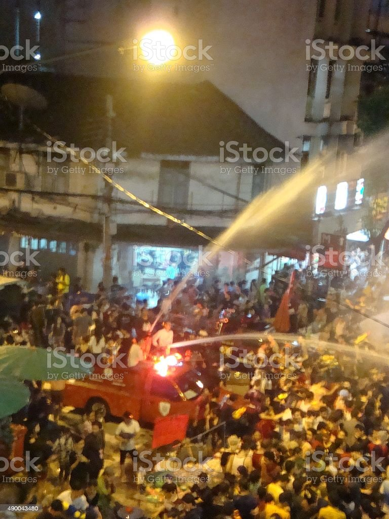 Songkran water festival at silom stock photo