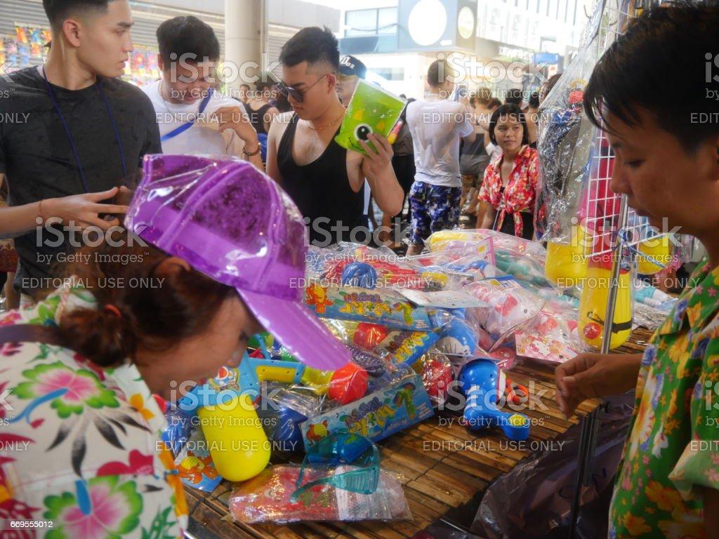 Songkran water festival at Silom road stock photo
