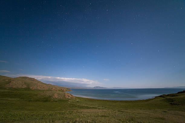 Song-Kul lake at night stock photo