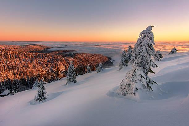 Sonnenaufgang an einem Wintermorgen im Schwarzwald Sonnenaufgang im Schwarwald vom Feldberg. Im Tal liegt dichter Nebel, während der Himmel wolkenlos ist. black forest stock pictures, royalty-free photos & images