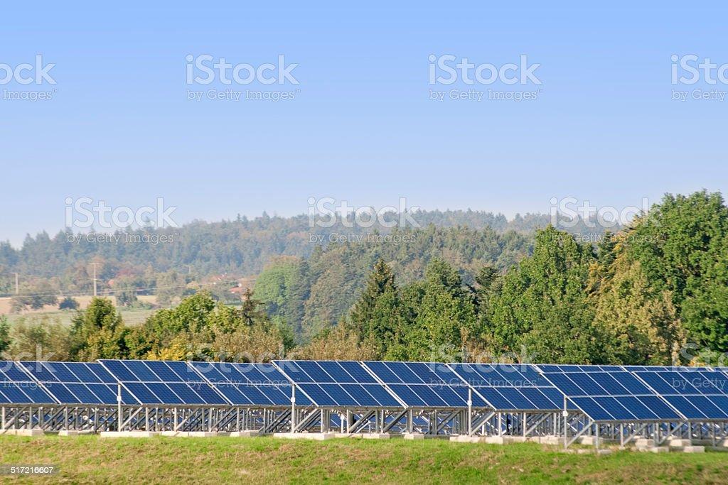 Sonnenkollektoren einer Solar Anlage stock photo