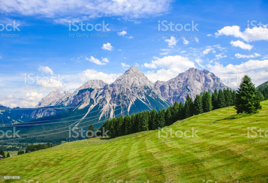 Sonnenspitze with Mieminger Mountains at Lermoos, Tyrol, Austria stock photo