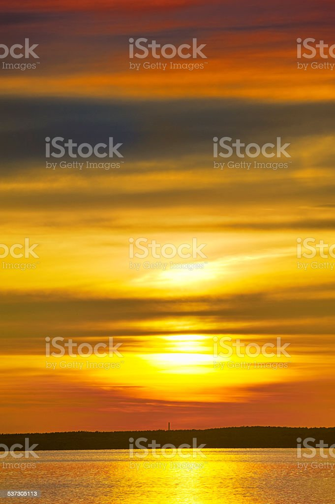 Sonnenuntergang am Steinhuder Meer. stock photo