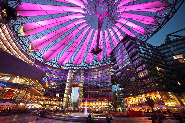 Sony Center at night stock photo
