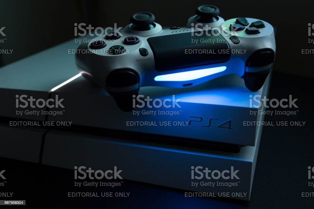Sony Play Station 4 and dualshock video game console stock photo