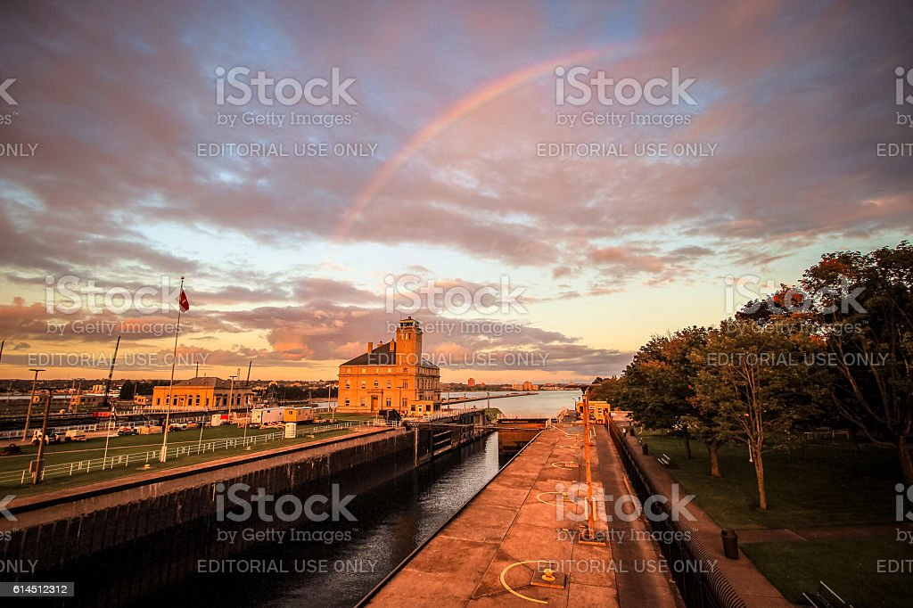 Soo Locks Rainbow stock photo