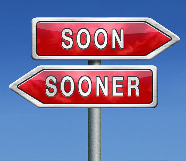 soon or sooner soon or sooner as fast as possible immediately right now hurry up ASAP stock pictures, royalty-free photos & images