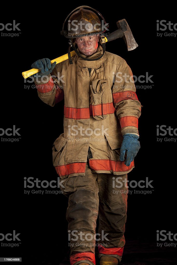Soot Covered Fireman with Fire Ax royalty-free stock photo