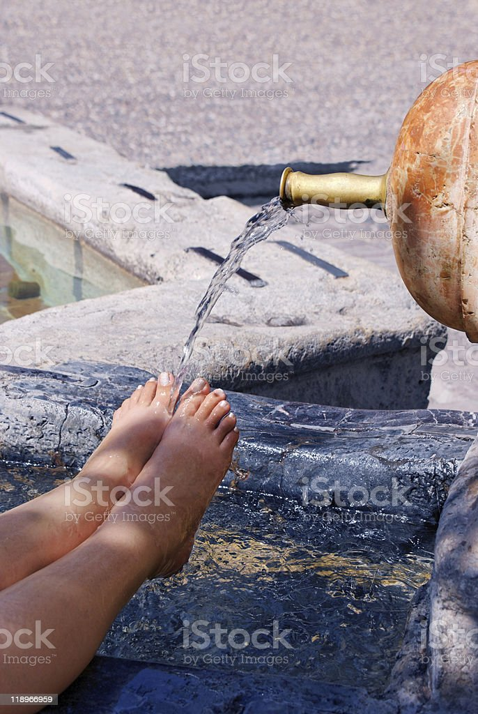 Soothing Aching Feet. Cross Processed royalty-free stock photo
