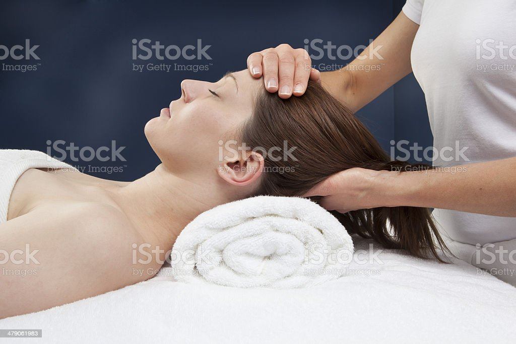 soothing face and neck massage stock photo