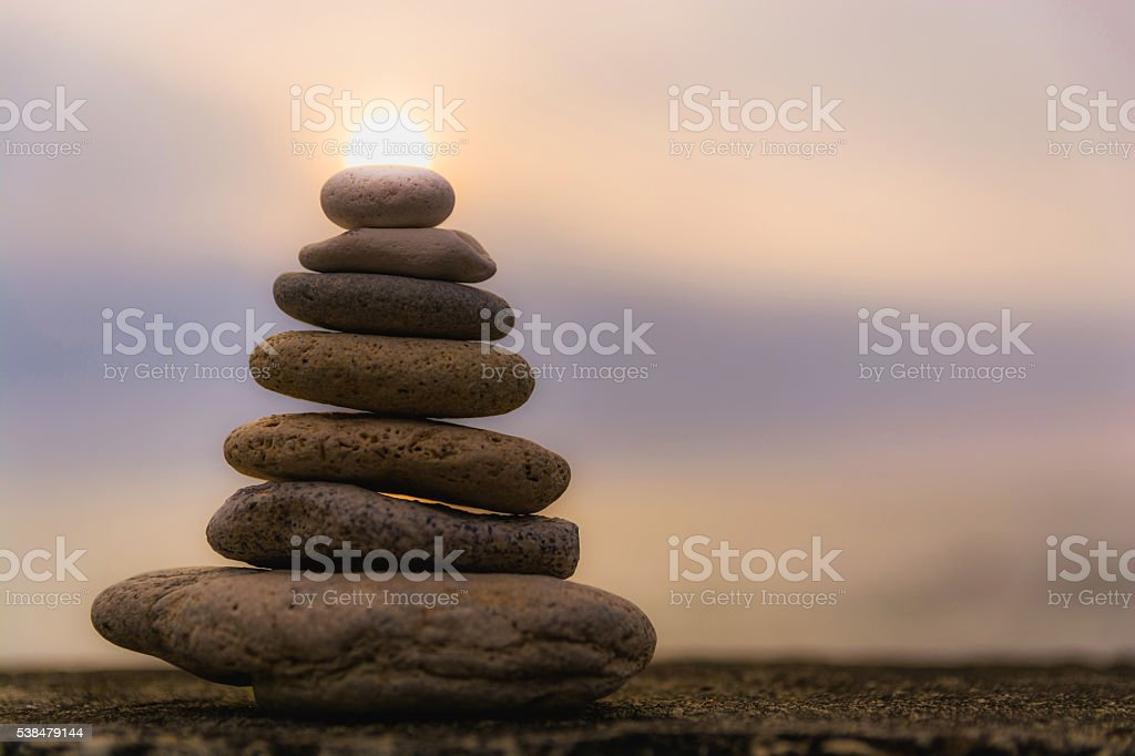 soothing stone pyramid stock photo