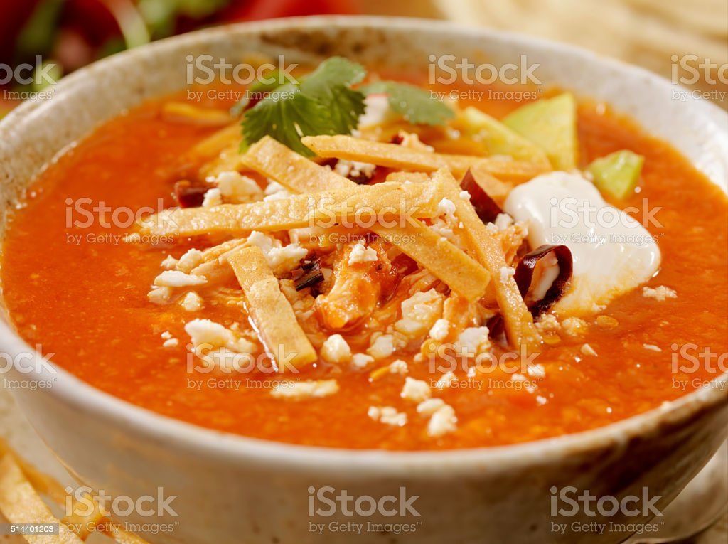 Sopa de tortilla stock photo