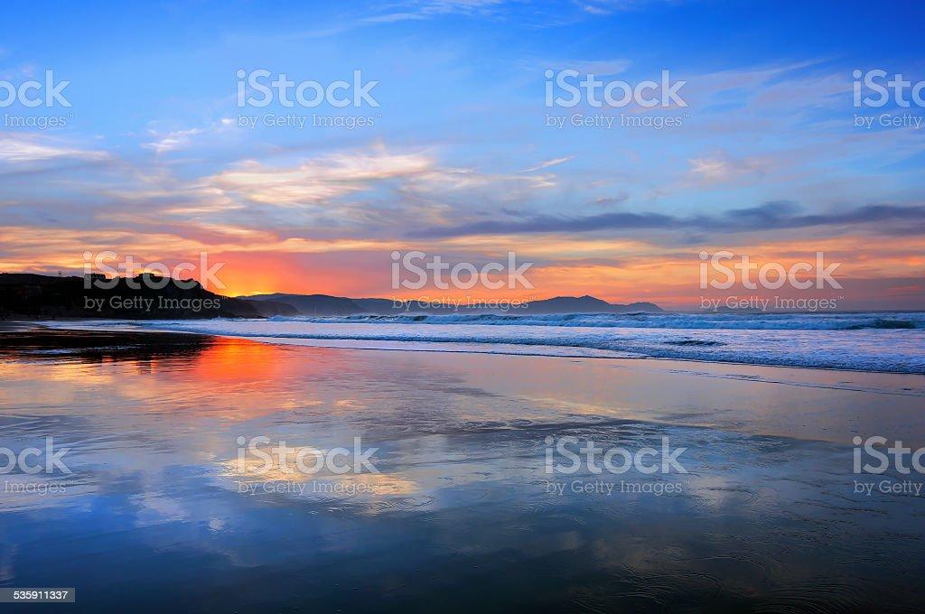 Sopelana beach at sunset stock photo