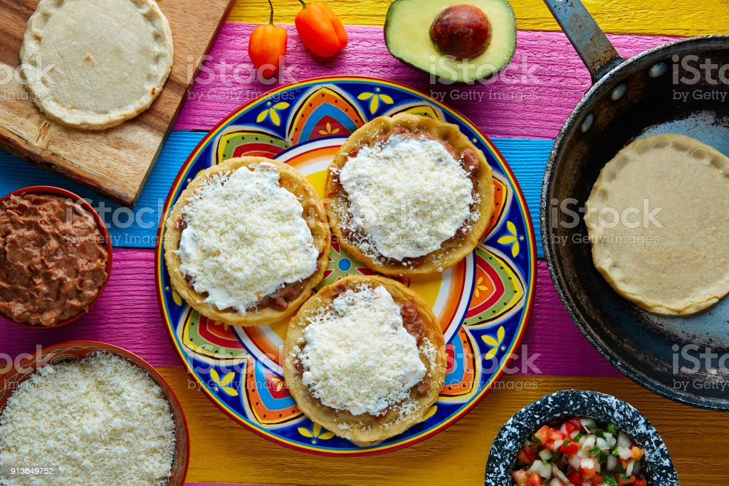 Sopes handmade mexican traditional food stock photo
