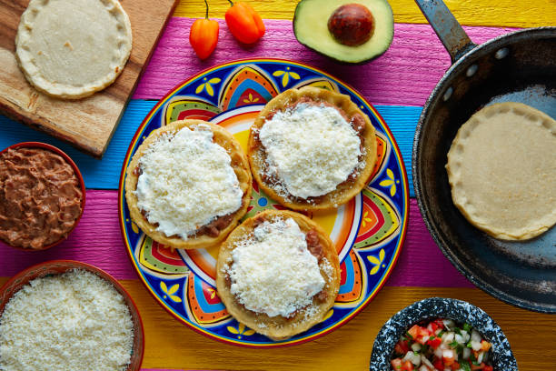 sopes handmade mexican traditional food - mexican food stock photos and pictures