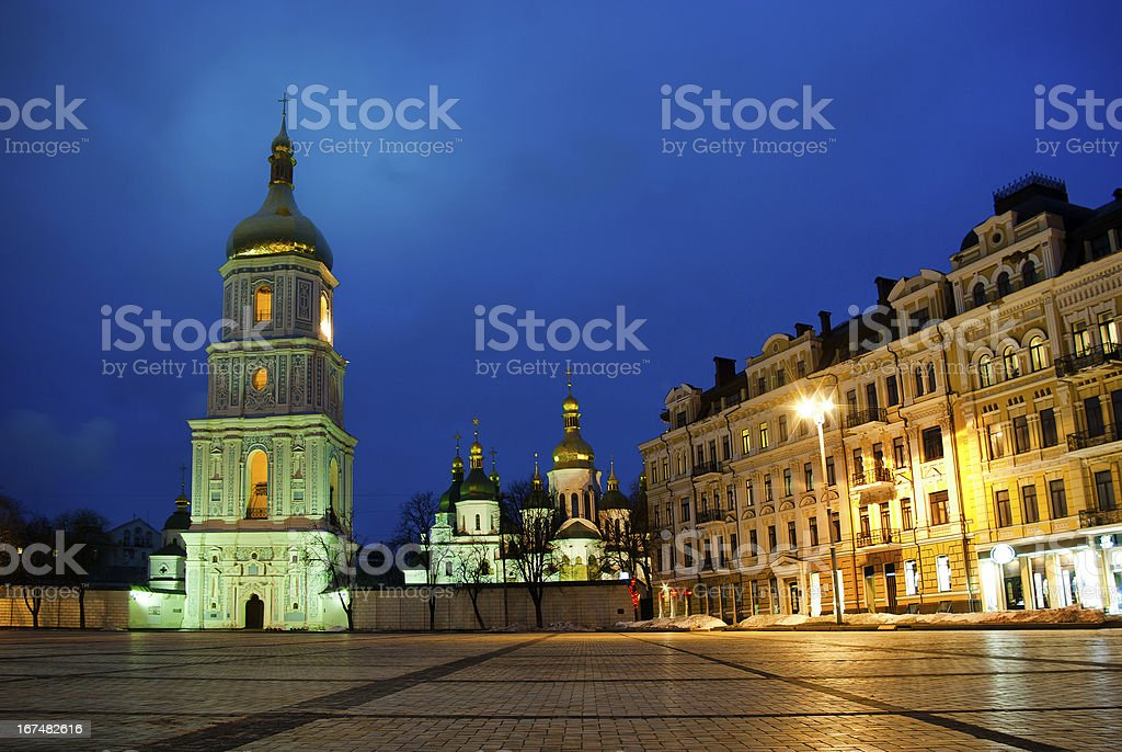 Sophievskaya Square with Bell tower of the Saint Sophia Cathedral royalty-free stock photo