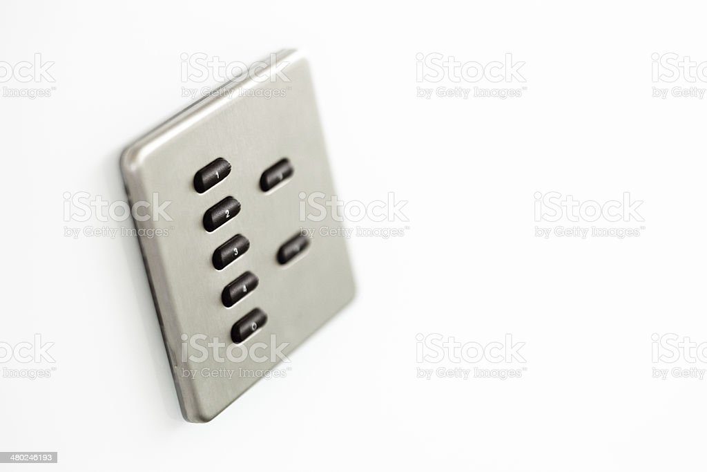 Sophisticated control switch for lighting in a conference room royalty-free stock photo