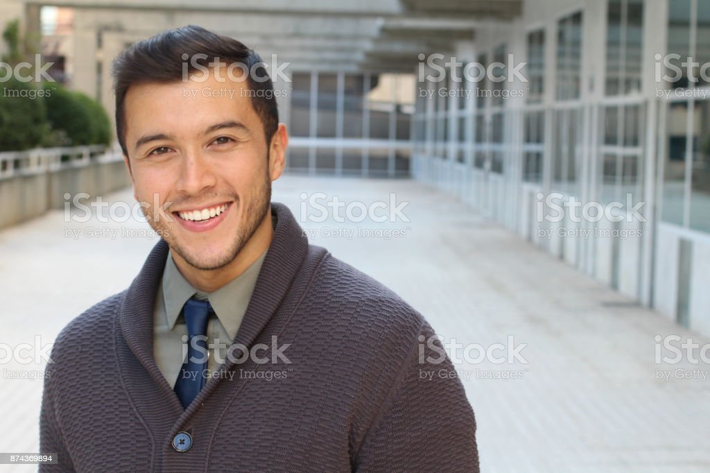 Sophisticated ethnic male isolated with copy space royalty-free stock photo