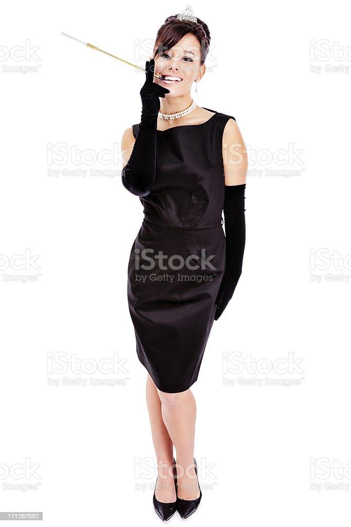Sophisticated Lady on White stock photo