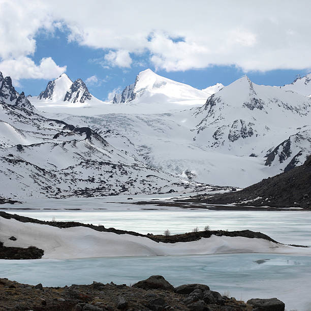 Sophiyskiy glacier. Altay. Russia. Snowy iced mountain landscape stock photo