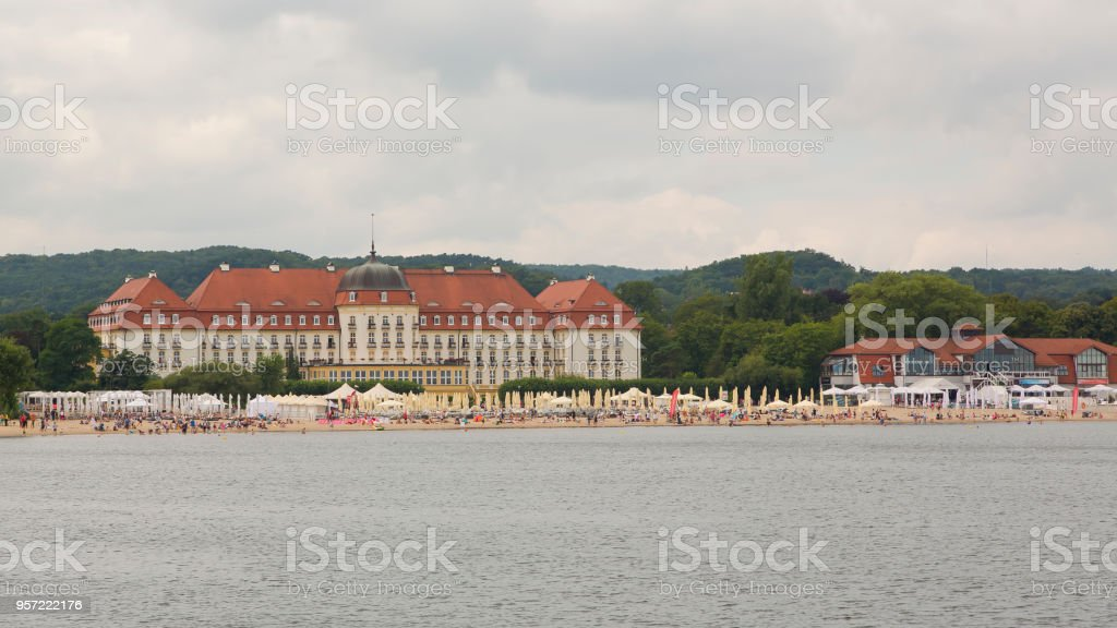 Sopot beach in Poland and the Spa house stock photo