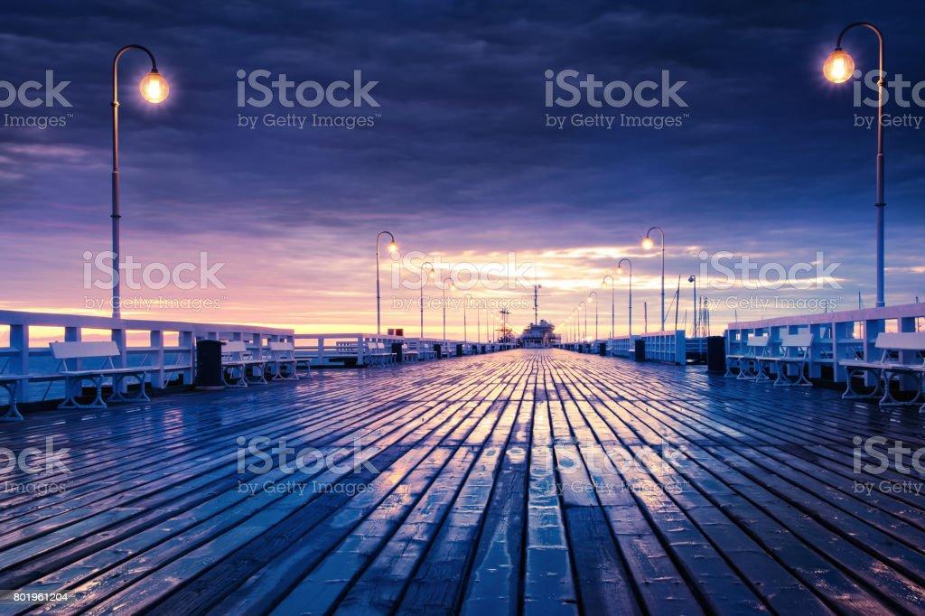 Sopot jetty at night stock photo