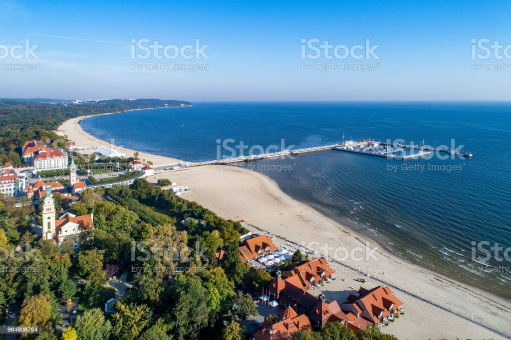 Sopot resort with pier and beach, Poland. Aerial view royalty-free stock photo