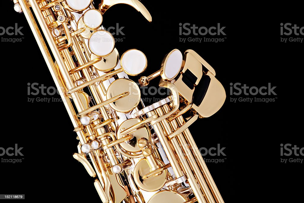 Soprano Saxophone Isolated On Black Stock Photo - Download Image Now