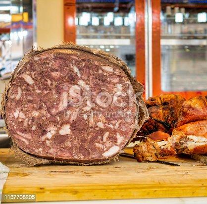sopressata salami in a market in italy