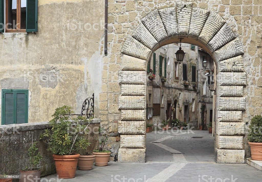 Sorano alley in Tuscany royalty-free stock photo