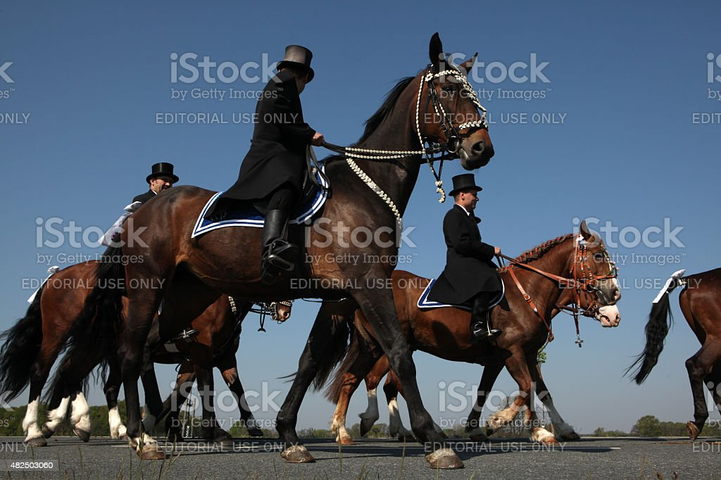Sorbian Easter Riders in Upper Lusatia, Saxony, Germany. stock photo