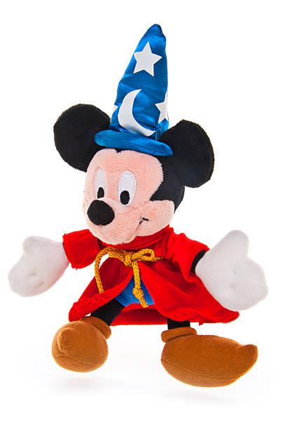schamane mickey mouse, blau wizard hat - maus comic stock-fotos und bilder