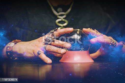istock Sorcerer uses a crystal ball to predict the future. 1187328374
