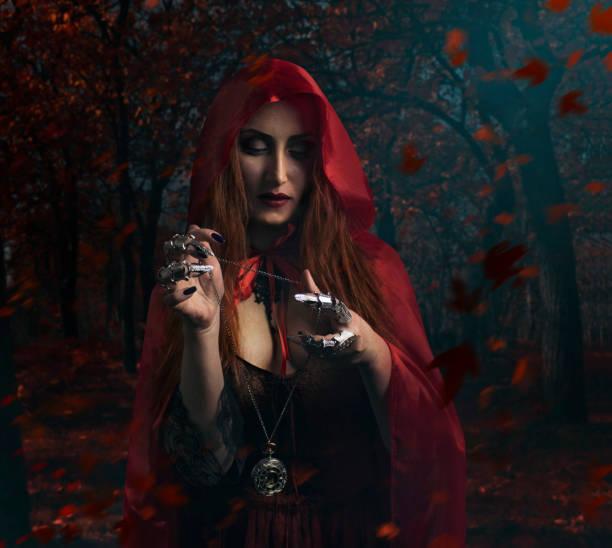 Bruja en el bosque. - foto de stock