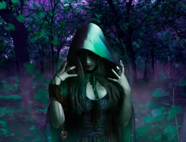 Bruja en el bosque de noche - foto de stock
