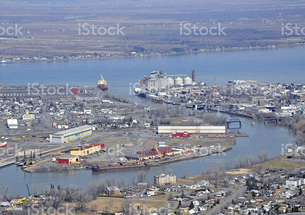 Sorel-Tracy industrial, aerial stock photo
