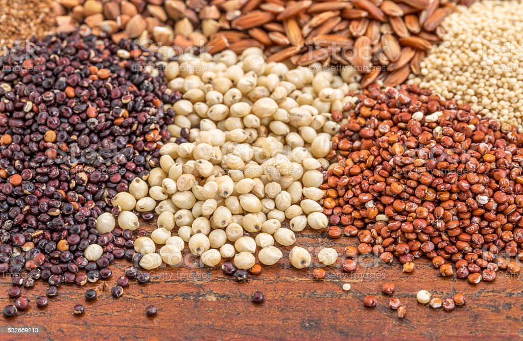 sorghum and quinoa grains stock photo
