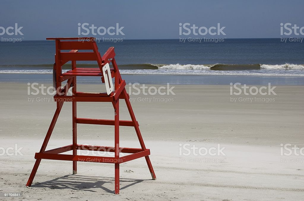 sorli lifeguard chair breaking waves on right stock photo