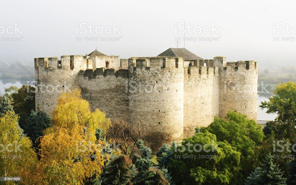 Soroca fortress against misty background stock photo