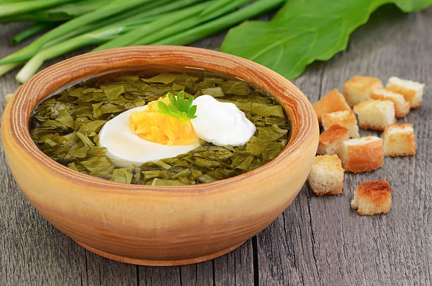 sauerampfer cremesuppe mit ei - eierstich stock-fotos und bilder