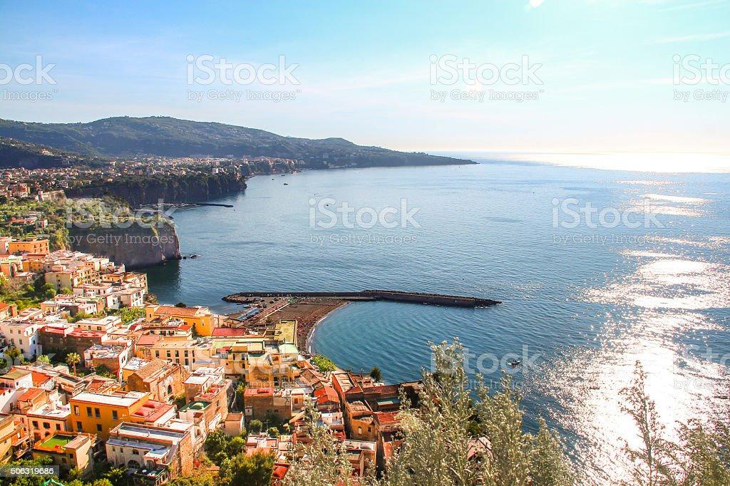 Sorrento coast viewed from road to Sorrento stock photo