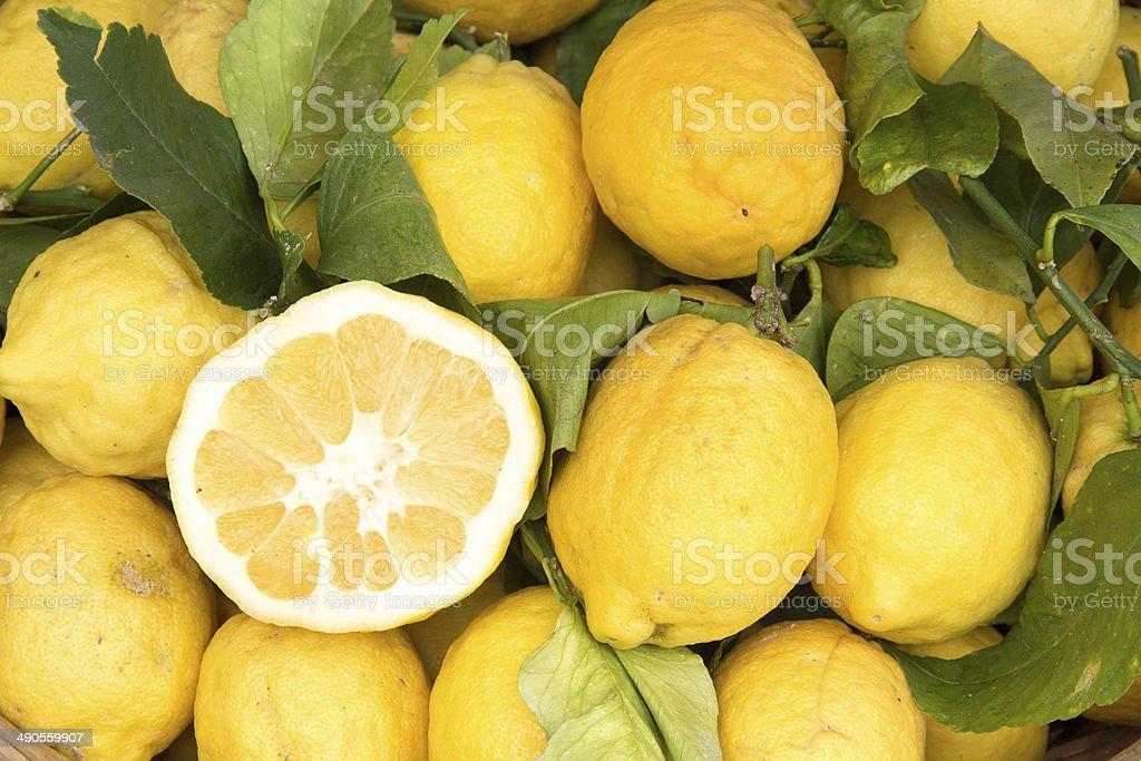 Sorrento lemons on the market stock photo