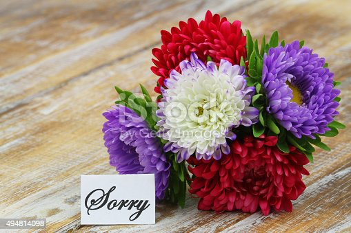 istock Sorry card with colorful aster bouquet on rustic wooden surface 494814098