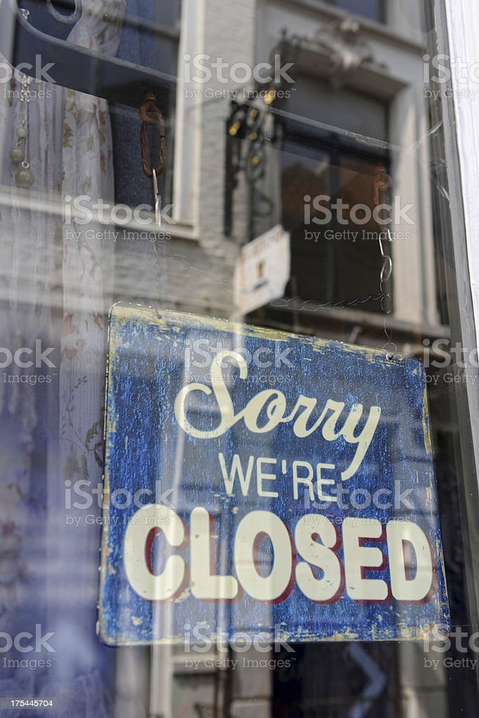 sorry closed - store sign. Reflection in window royalty-free stock photo