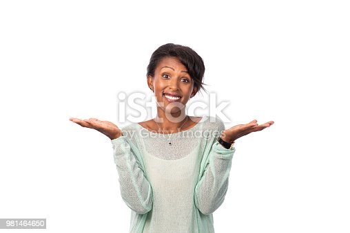 Waist up portrait of a casual woman throws up hands. She knows nothing. The woman wearing a blue business suit, isolated on a white background.
