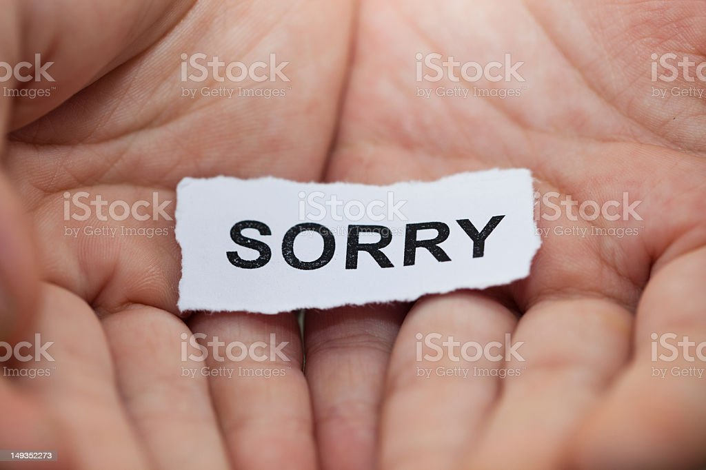 'Sorry' text on hand royalty-free stock photo